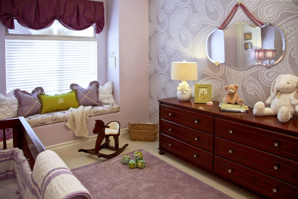 Beverly Fabrics for a Traditional Nursery with a Brown Dresser and Purple & Green Nursery   Mission Viejo, Ca by Rockabye Mommy, Llc