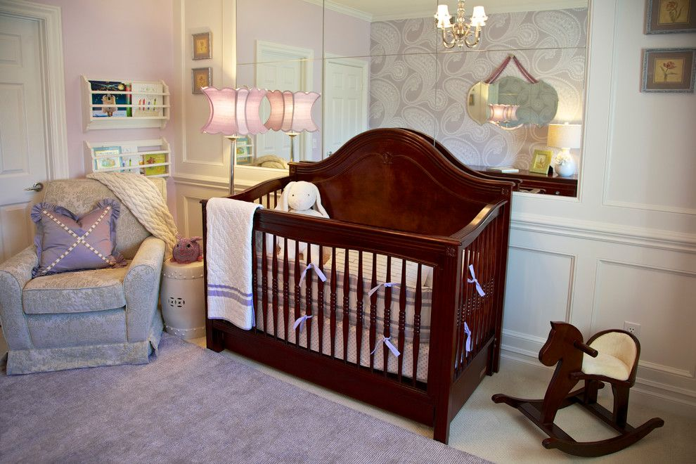 Beverly Fabrics for a Traditional Nursery with a Damask Wallpaper and Purple & Green Nursery   Mission Viejo, Ca by Rockabye Mommy, Llc