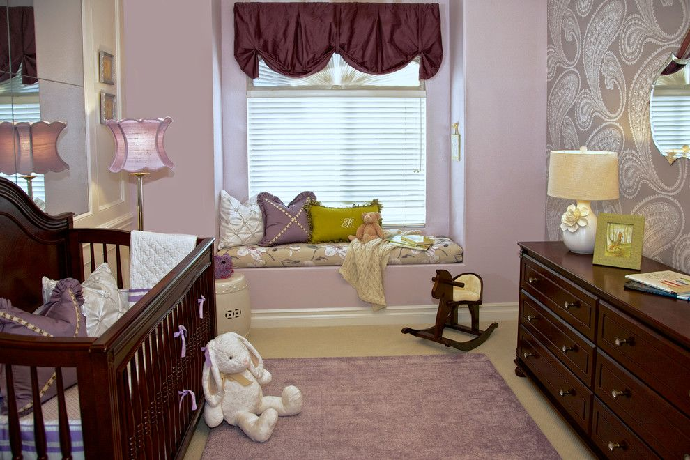 Beverly Fabrics for a Traditional Nursery with a Embroidered Pillow and Purple & Green Nursery   Mission Viejo, Ca by Rockabye Mommy, Llc