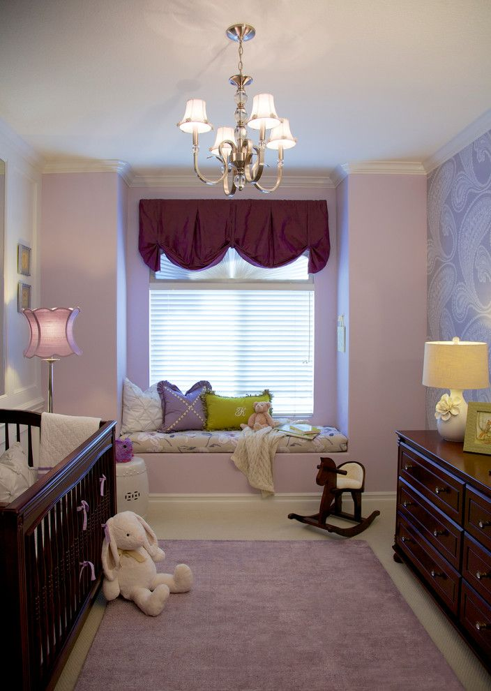 Beverly Fabrics for a Traditional Nursery with a Purple Nursery and Purple & Green Nursery   Mission Viejo, Ca by Rockabye Mommy, Llc
