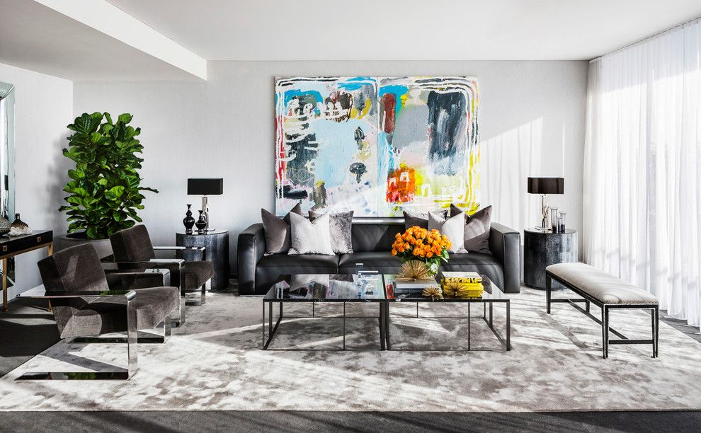 Bif Furniture for a Contemporary Living Room with a Area Rug and Sydney Skyhome by Brendan Wong Design