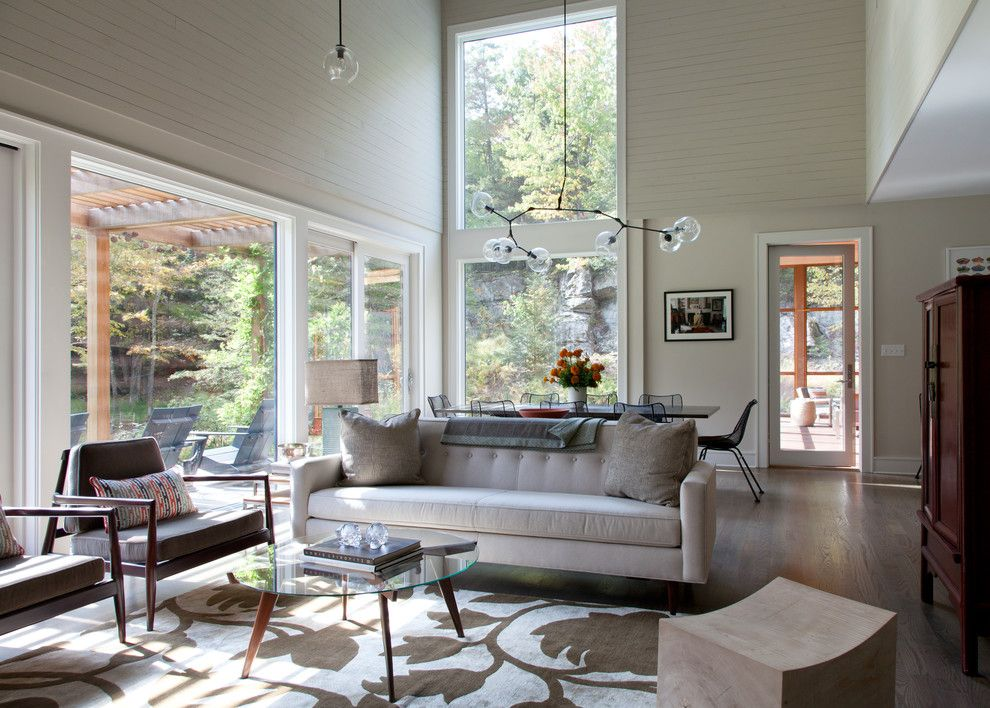 Bif Furniture for a Contemporary Living Room with a Large Windows and Woodstock Retreat by Hall Smith Office_Architecture