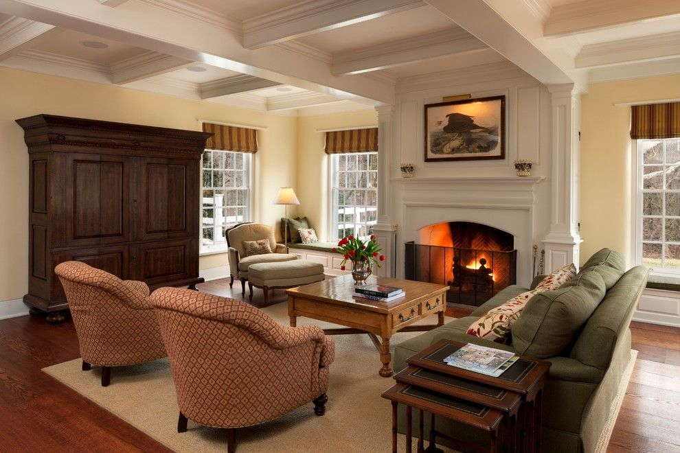 Bif Furniture for a Traditional Family Room with a Rug and Merion Square by E. B. Mahoney Builders, Inc.