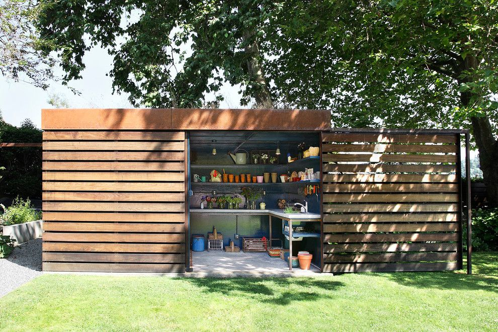 Bike Rack Omaha for a Contemporary Shed with a Lawn and Shed and Yard by Shed Architecture & Design