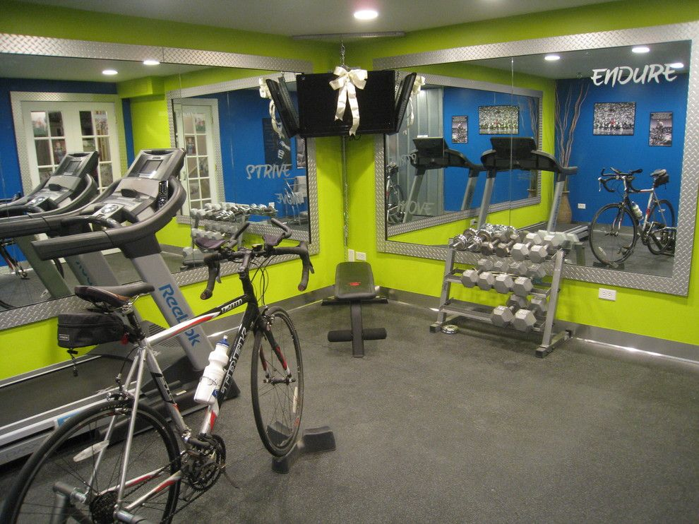 Bike Rack Omaha for a Eclectic Home Gym with a French Doors and Cathy Zaeske by Your Favorite Room by Cathy Zaeske