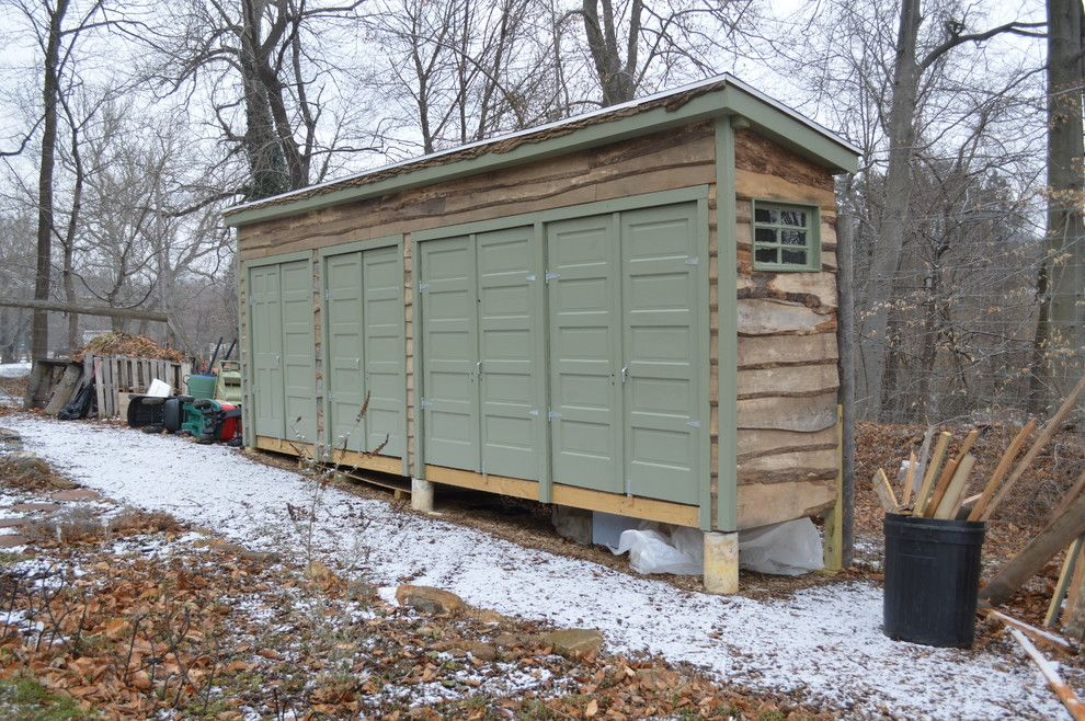 Bike Rack Omaha for a Eclectic Shed with a Green Trim and Repurposed Garden Shed by Janiczek Homes