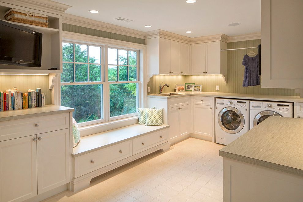 Bike Rack Omaha for a Traditional Laundry Room with a Beige Countertop and French Country by Kurt Johnson Photography