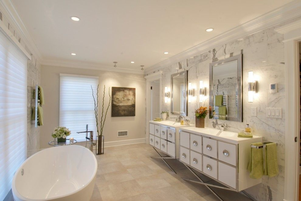 Blackman Plumbing Locations for a Contemporary Bathroom with a Crown Moulding and Master Bathroom by Lasley Brahaney Architecture + Construction