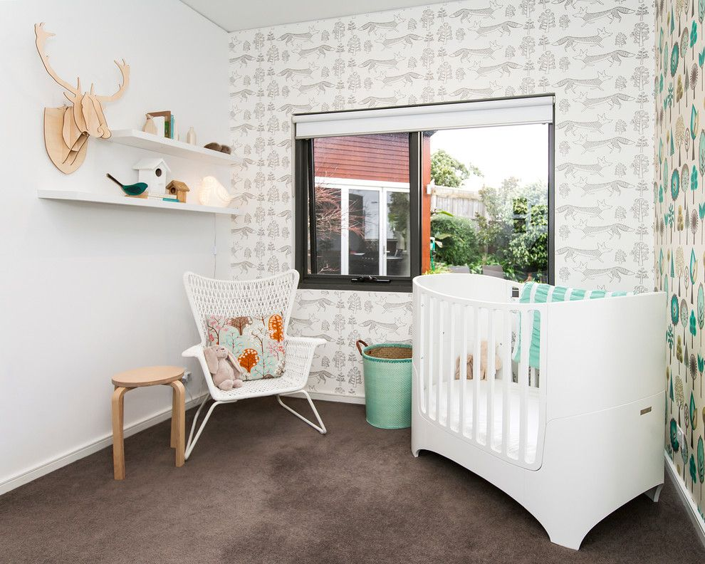 Blackman Plumbing Locations for a Contemporary Nursery with a Ikea Chair and the Oliver Project by White Elk Interiors