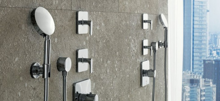 Blackman Plumbing Locations for a Modern Bathroom with a City View and Axor Citterio M Shower by Hansgrohe USA
