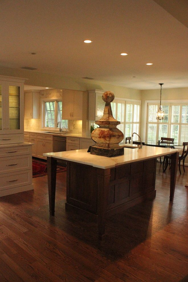 Bobrick for a Traditional Kitchen with a Contrasting Island Coffer Panel Design and Custom Kitchen by Misch Bobrick Design Llc