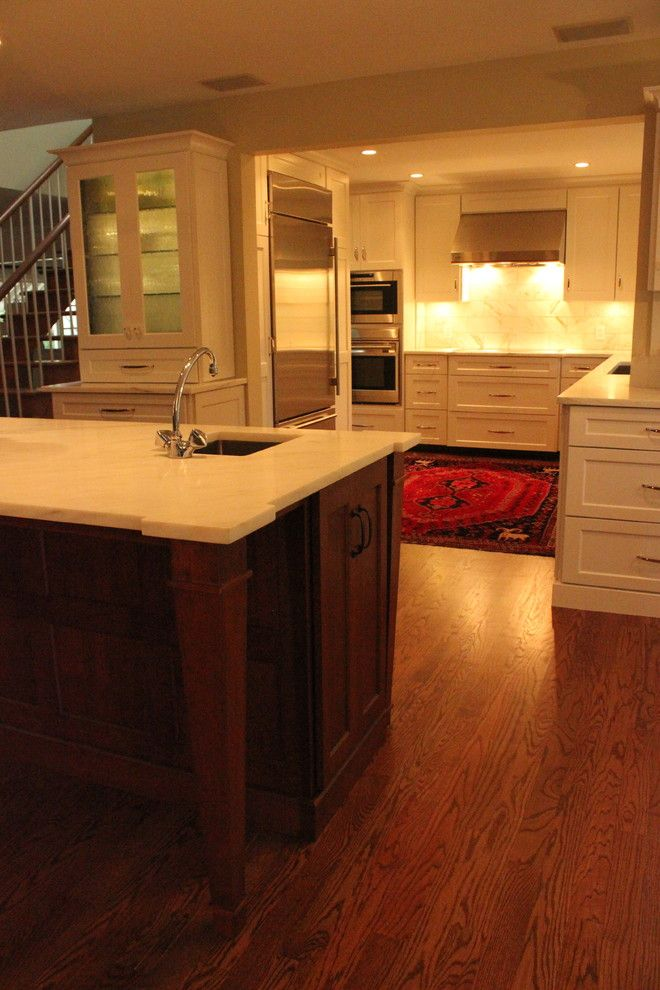 Bobrick for a Traditional Kitchen with a Contrasting Wood Finish and Custom Kitchen by Misch Bobrick Design Llc
