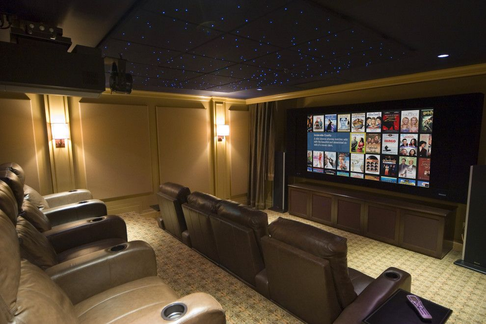 Boca Movie Theater for a Contemporary Home Theater with a Carpet Pattern and ... by Gramophone
