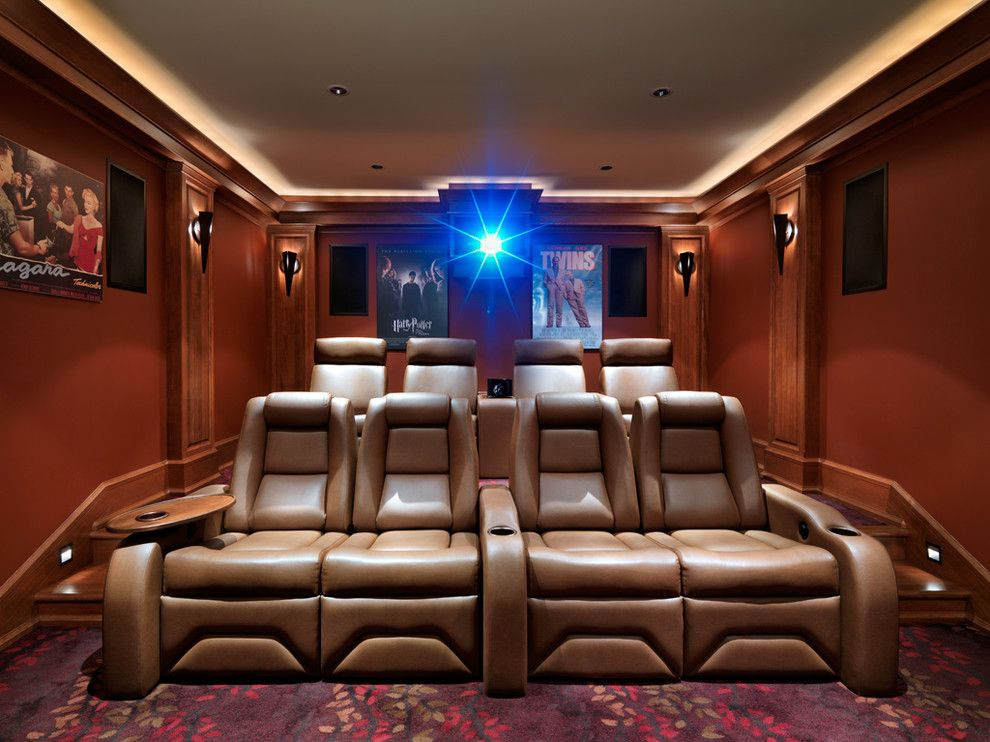 Boca Movie Theater for a Craftsman Home Theater with a Cove Lighting and Windward Oaks Custom Home   Oak Bay by Mike Knight Construction