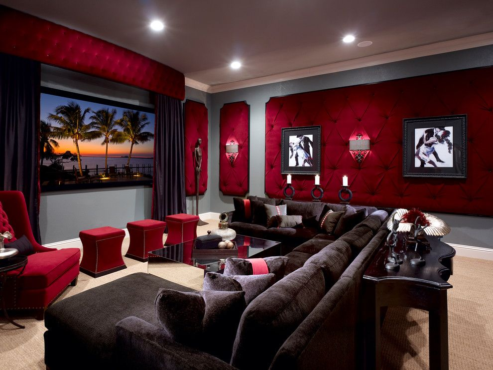 Boca Movie Theater for a Traditional Home Theater with a Home Theater and Lake Mary Rustic Style Residence by Roman Interior Design