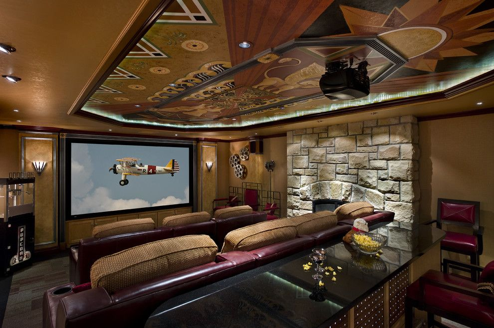Boca Movie Theater for a Traditional Home Theater with a Stadium Seats and Art Deco Media Room by Savoy Interior Design Llc