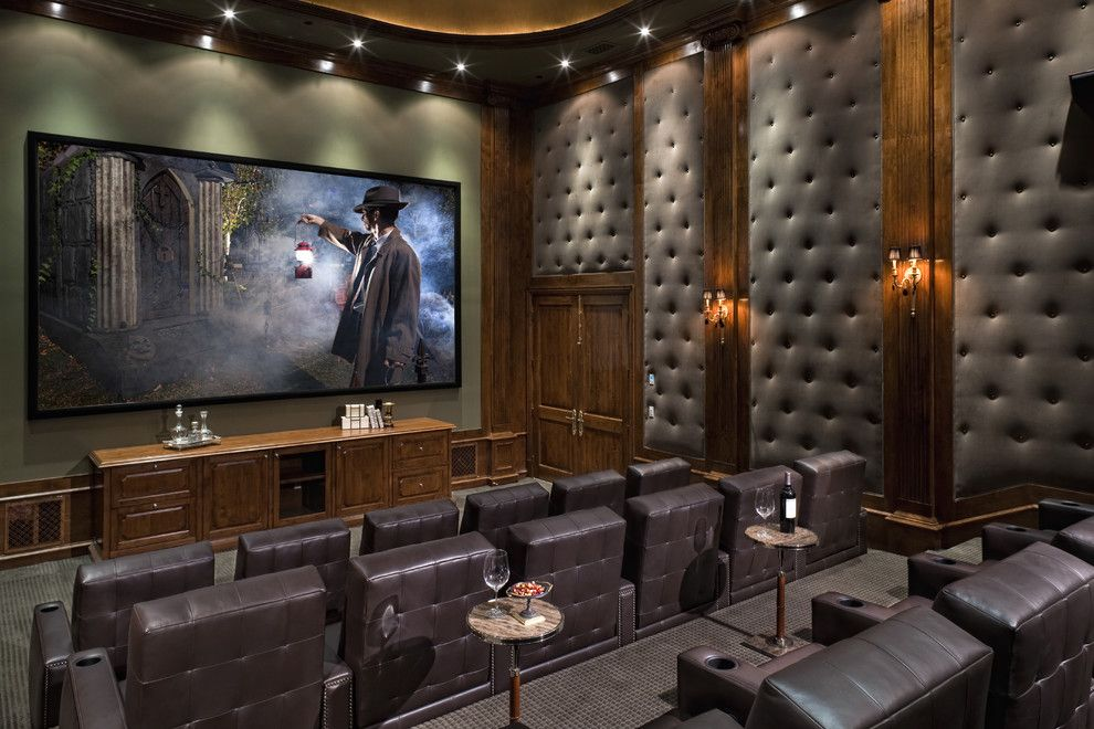 Boca Movie Theater for a Traditional Home Theater with a Wall Lighting and Portfolio by Jennifer Bevan Interiors