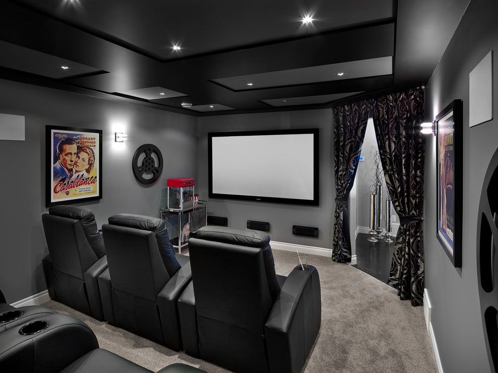 Boca Movie Theater for a Transitional Home Theater with a Black and Gray and New Hampshire in Allard by Kimberley Homes