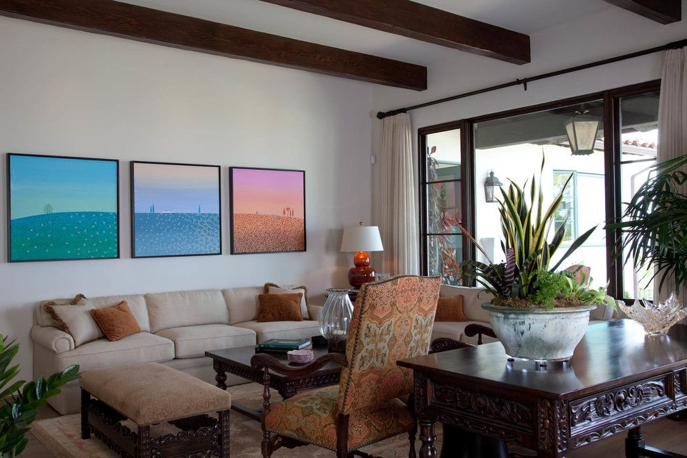 Boca Woods Country Club for a Mediterranean Living Room with a Medium Wood Finish and Country Club Spanish Revival by Kim Grant Design Inc