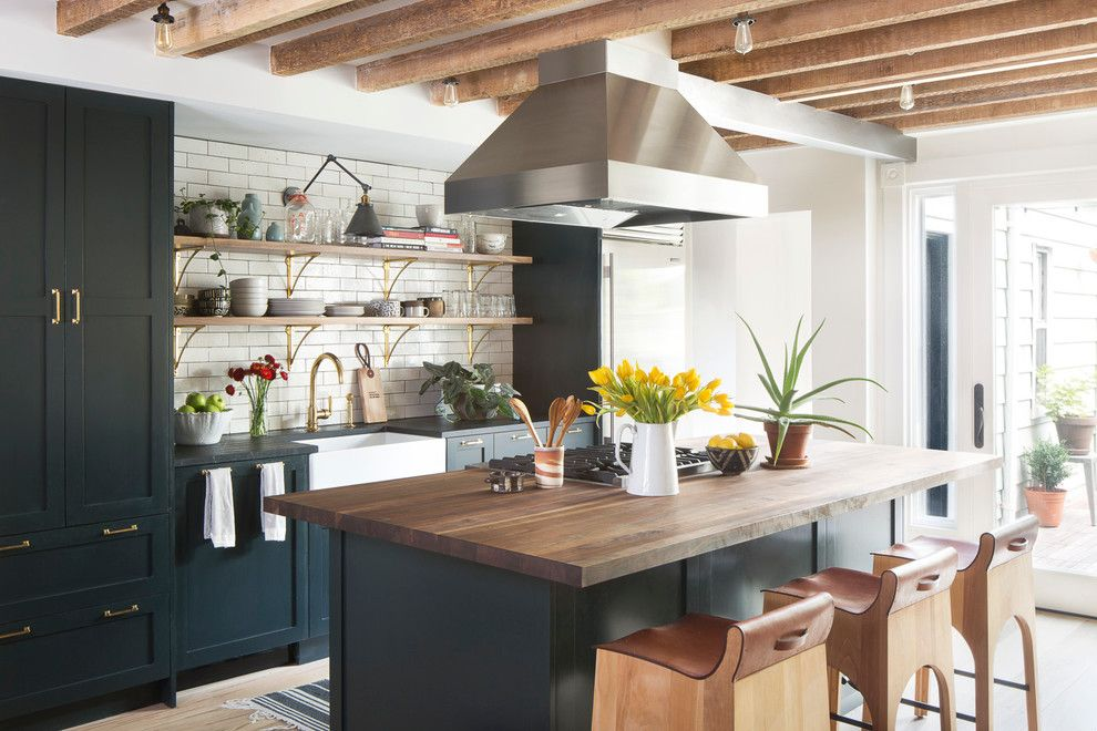 Boca Woods Country Club for a Transitional Kitchen with a Vent Hood Over Island and Greenpoint Townhouse by A.jennison Interiors
