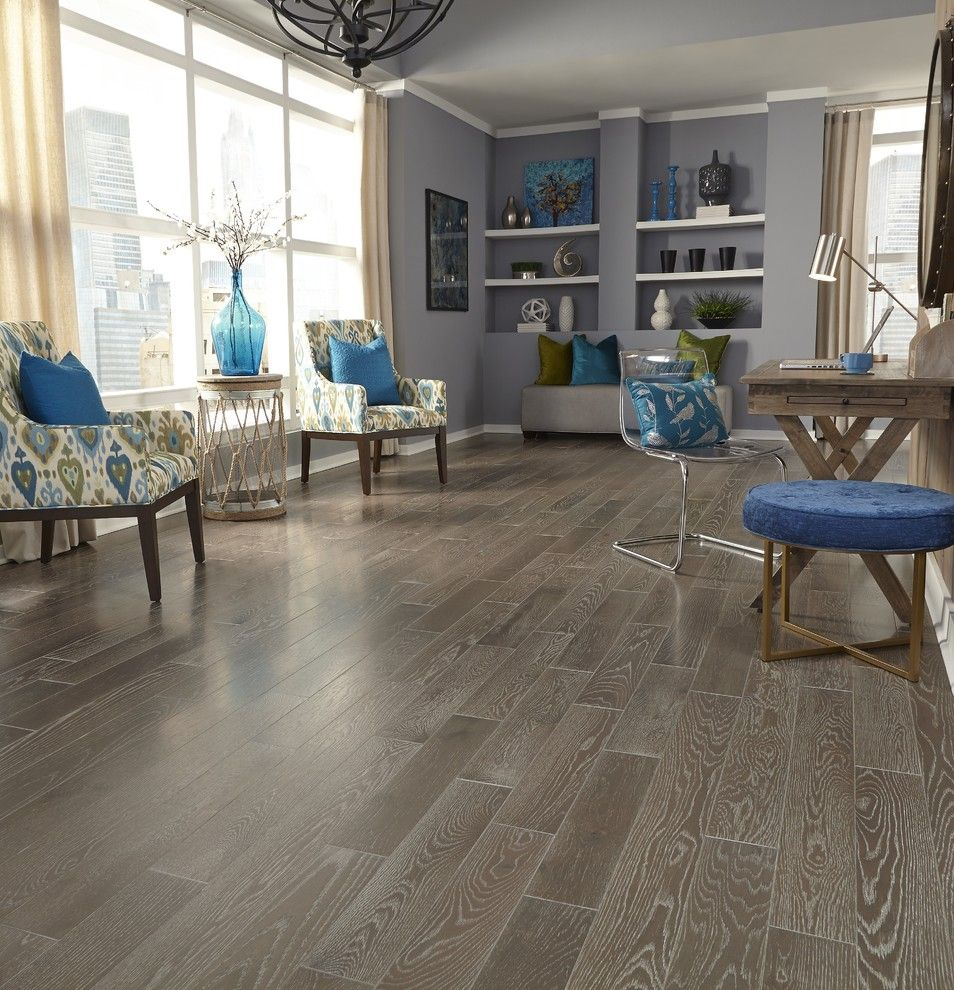Boulder Lumber for a Contemporary Living Room with a Blue Pillows and Lumber Liquidators by Lumber Liquidators