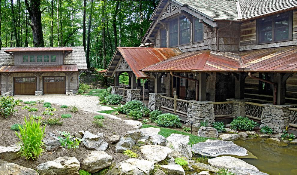 Boulder Lumber for a Rustic Exterior with a Grass and Mountain Top Residence by Appalachian Antique Hardwoods
