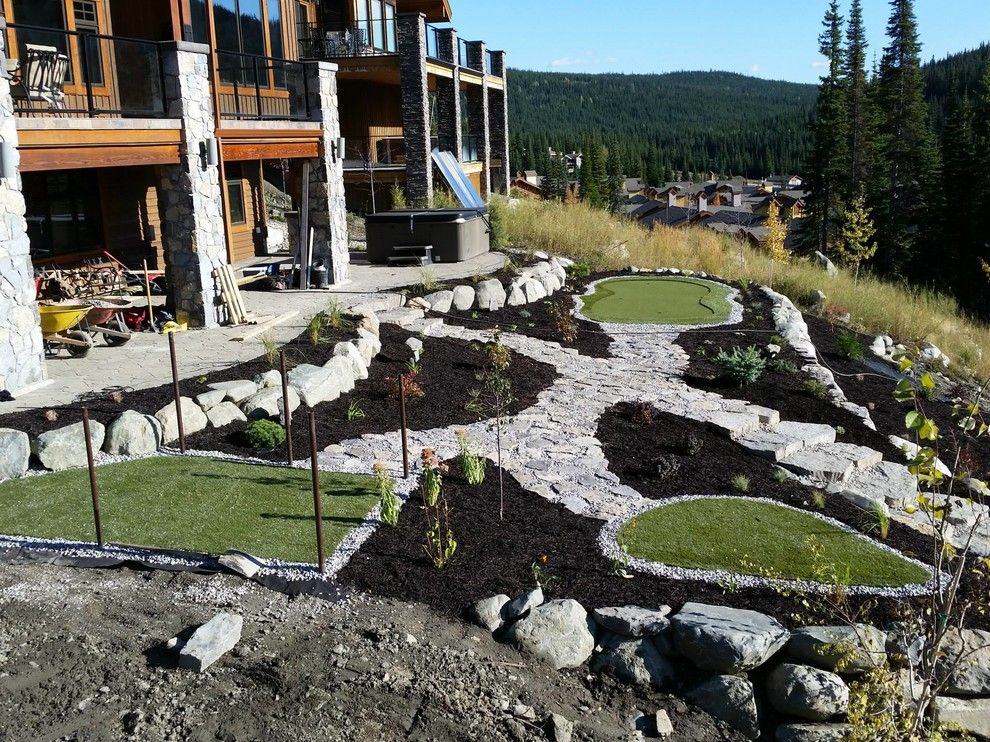 Boulders Golf for a Contemporary Patio with a Mini Golf and Sun Peaks, British Columbia, Canada by Lyons Landscaping