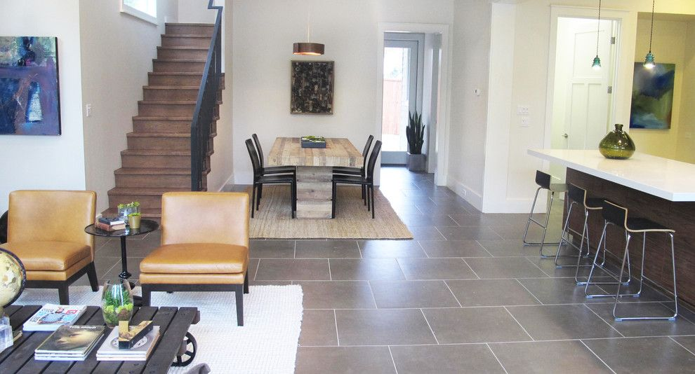 Bouldin Creek for a Contemporary Living Room with a Slate Floor and Bouldin Creek by Saavedra Design Studio