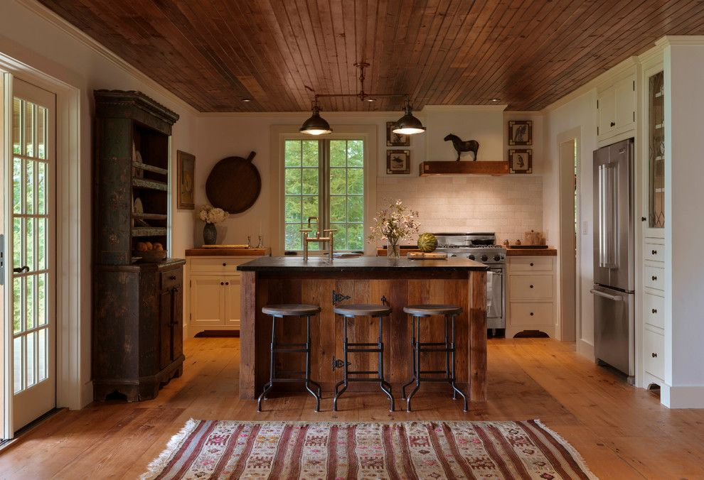 Bravos Pizza for a Rustic Kitchen with a Salvaged Wood and Lake House Kitchen by Mb Architecture + Design
