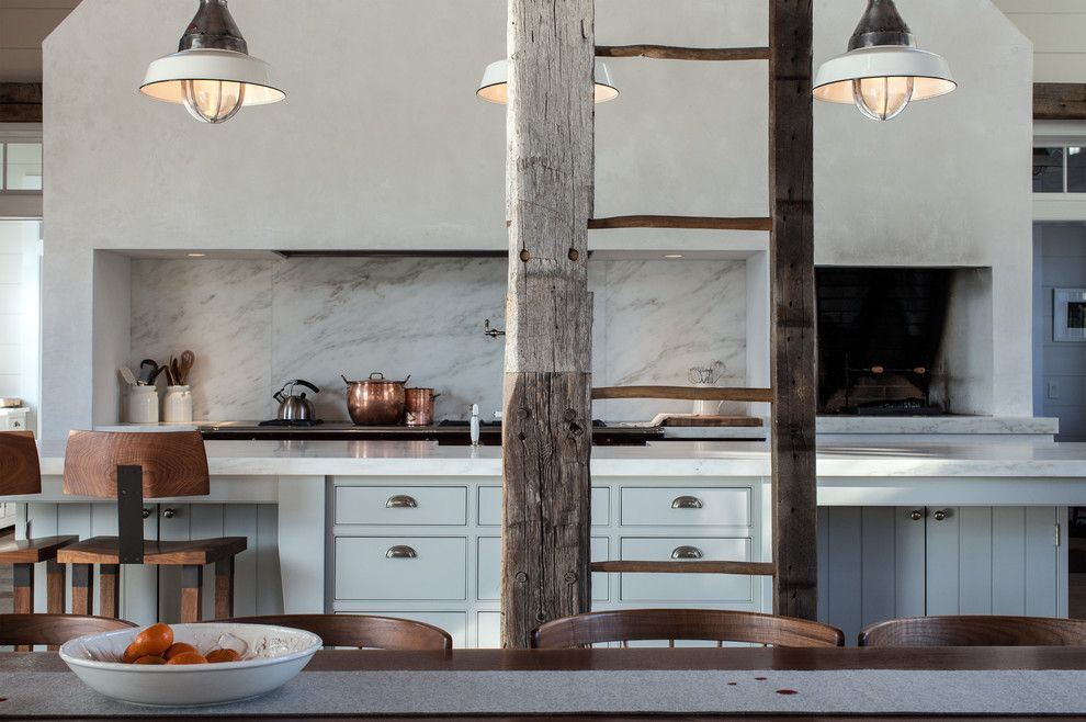 Bravos Pizza for a Traditional Kitchen with a Ladder and Vintage Barn Frame Addition to Dutch Stone House by Kate Johns Aia