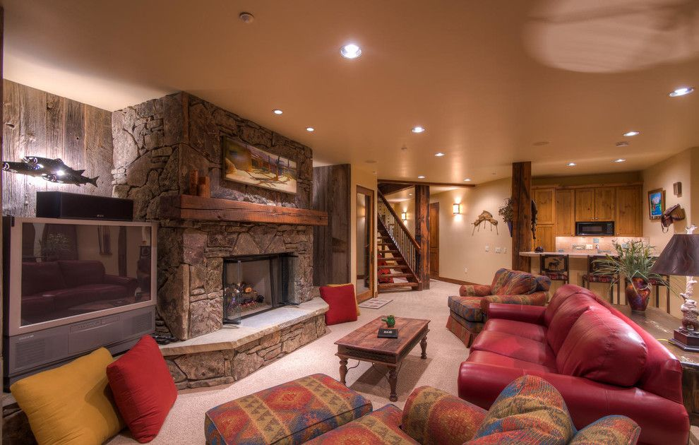 Breckenridge Theater for a Rustic Home Theater with a Fireplace and 155 Little Sallie Barber, Breckenridge, Co by Paffrath & Thomas Real Estate