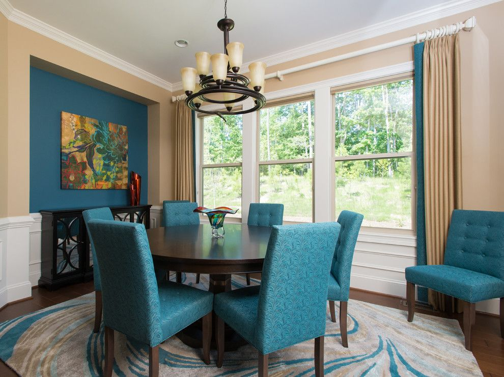 Briar Chapel for a Transitional Dining Room with a Tan Walls and Briar Chapel New Home by Sew Fine Ii Custom Window Treatments and Interiors