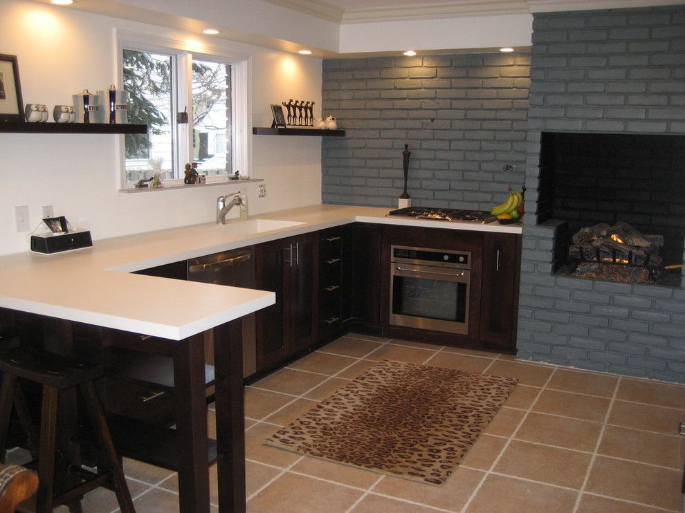 Brick Wall Waterfall for a Contemporary Kitchen with a Brick Fireplace and New Kitchen by Rafferty44
