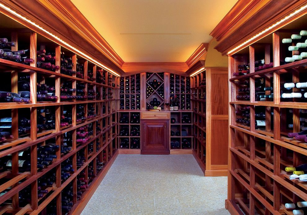 Broken Arrow Theater for a Traditional Wine Cellar with a Wine Storage and Greenwich Wine Cellar by Design Build Consultants Inc.