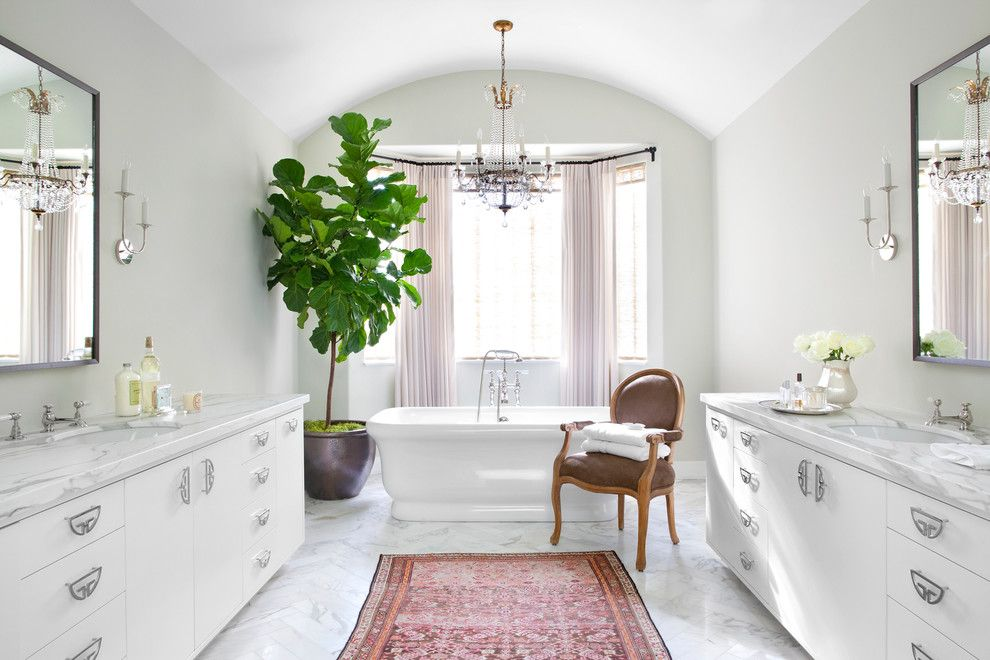 Broken Arrow Theater for a Transitional Bathroom with a Vintage Rug and Beverly Hills Residence by Burnham Design