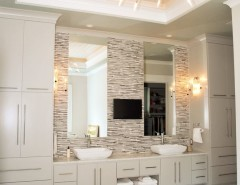 Broward Factory Service for a Tropical Bathroom with a Beige Mosaic Tile Backsplash and Pye Residence by Crosby Creations Drafting & Design Services, LLC