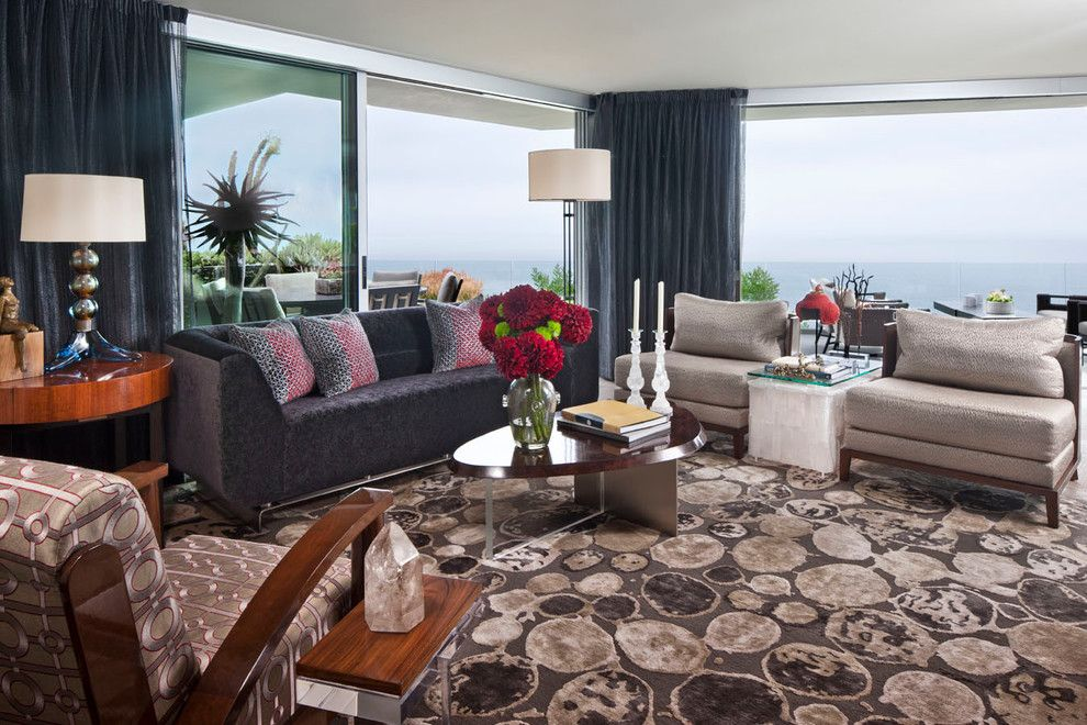 Brownlee Furniture for a Modern Living Room with a Base Chairs and Modern Home with a View by Harte Brownlee & Associates Interior Design