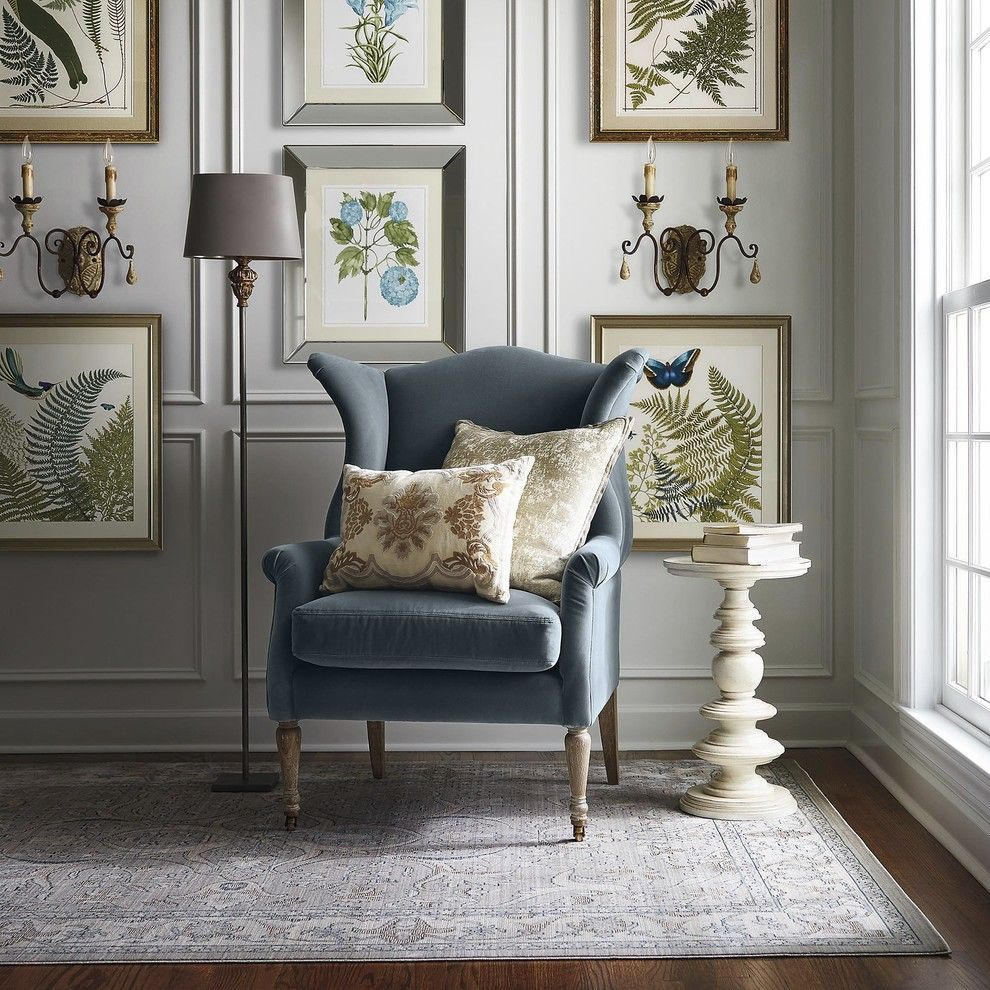 Brownstone Gardens for a Traditional Living Room with a Blue Wingback Chair and Frontgate by Frontgate