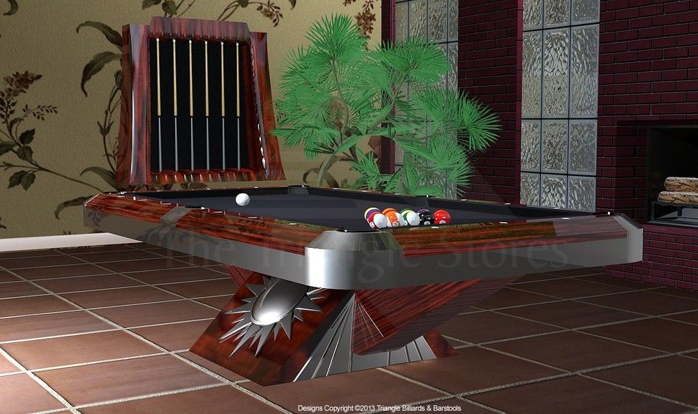Brunswick Billiards for a Contemporary Home Theater with a Ping Pong and Encompass by Triangle by Triangle Billiards, Inc