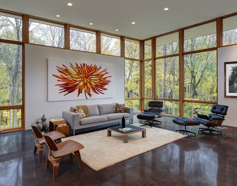 Buckeye Heating and Cooling for a Contemporary Living Room with a Floor to Ceiling Windows and Fieldstone House by Bruns Architecture