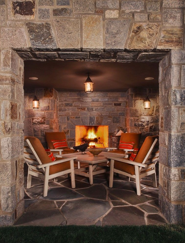 Buckeye Heating and Cooling for a Traditional Patio with a Flagstone and Up North Michigan Cabin by Kathleen Mcgovern Studio of Interior Design