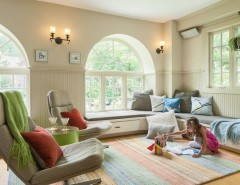 Buckminster for a Transitional Family Room with a Green Side Table and Mt. Airy Transitional Sunroom / Living Room by Buckminster Green LLC