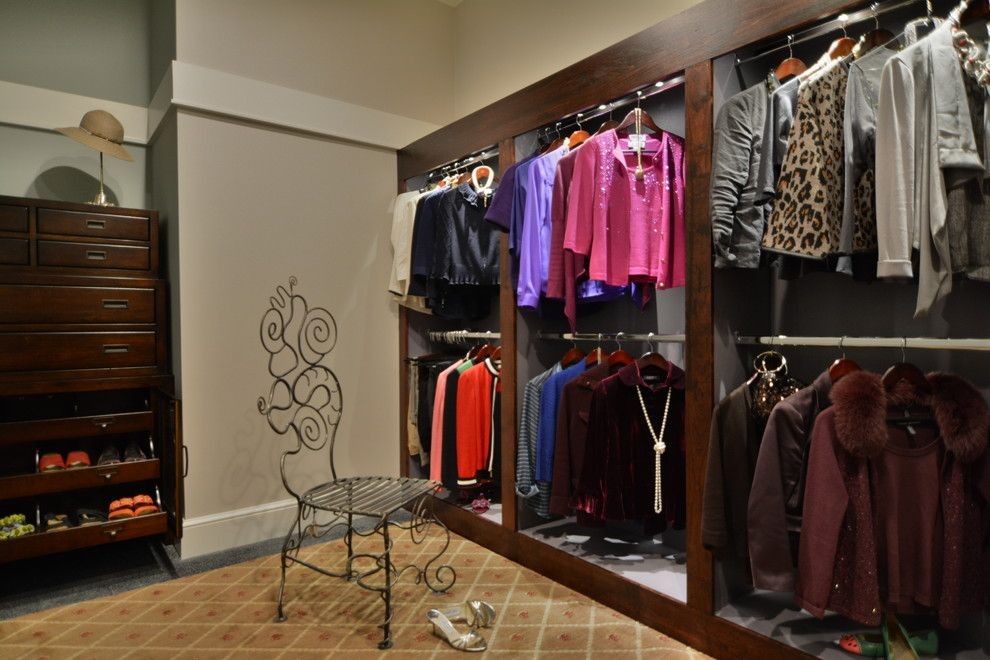 Buildex for a Contemporary Closet with a Custom Woodworking and Master Closet Built Ins   Governors Club   Chapel Hill by Buildex