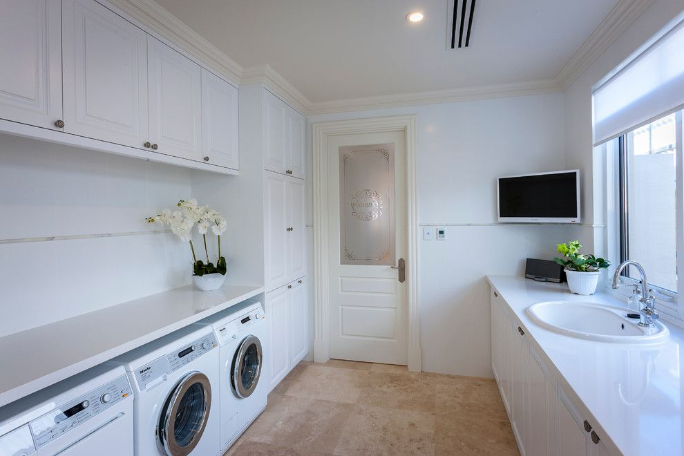 Burke Flooring for a Traditional Laundry Room with a White Laundry and Attadale by Brian Burke Homes