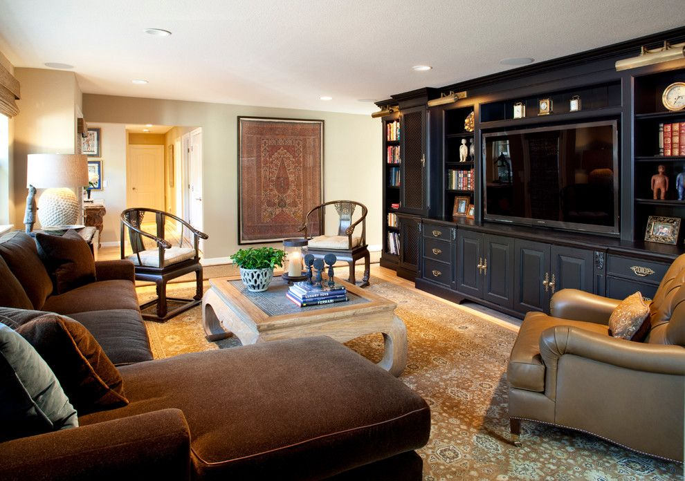 Burke Rehabilitation Center for a Traditional Family Room with a Media Center and Hillside Cottage by Kathleen Burke Design