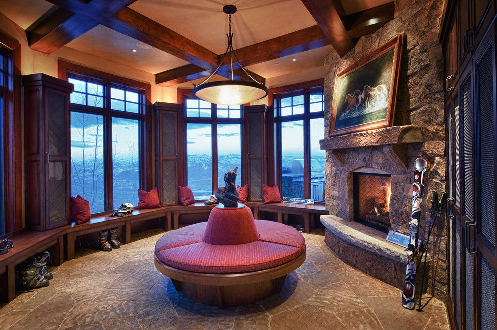 Burke Rehabilitation Center for a Traditional Living Room with a Stone Mantle and Deer Crest, Park City, Utah by Sorento Design, Llc.