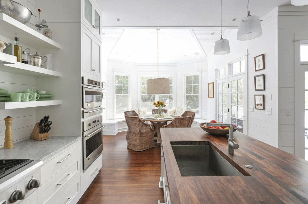 Butcher Block Nyc for a Beach Style Kitchen with a Green Glass and Sullivan's Island Family Home Renovation by Diament Builders