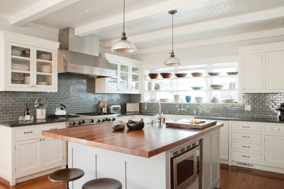 Butcher Block Nyc for a Beach Style Kitchen with a White and Santa Monica Beach House by Evens Architects