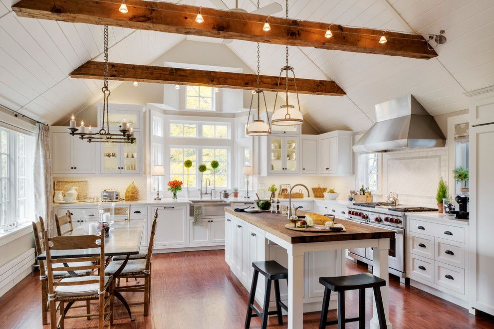 Butcher Block Nyc for a Traditional Kitchen with a Caesarstone and Custom Kitchen and Family Room Remodel, Sudbury, Ma by Platt Builders