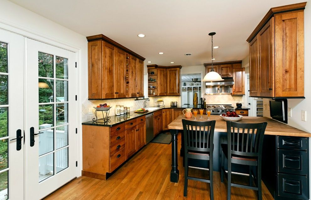 Butcher Block Nyc for a Traditional Kitchen with a Pendant Lights and Merricks Kitchen by Merrick Design and Build Inc.